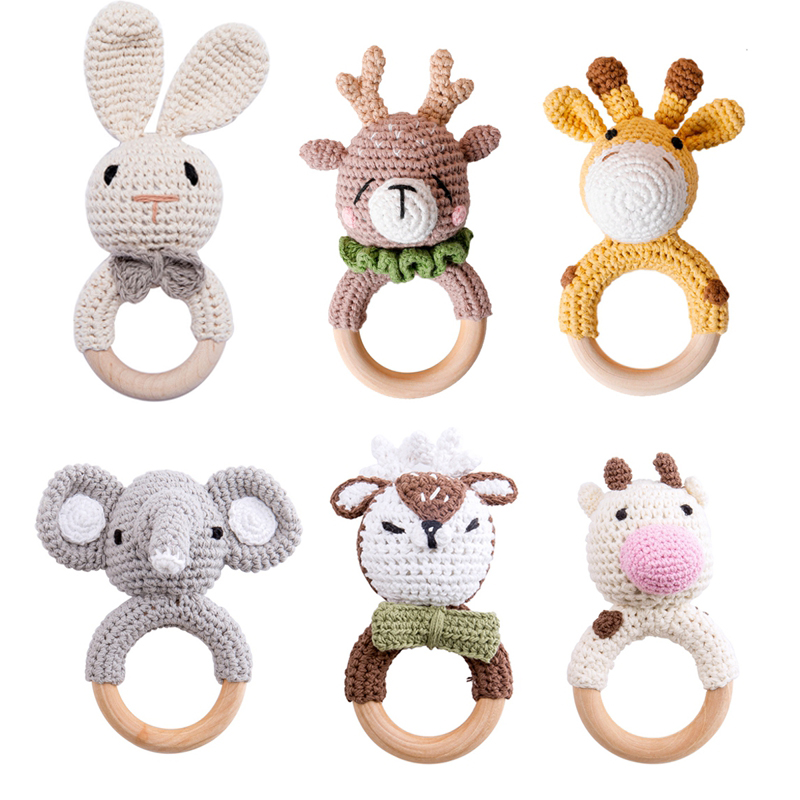 Puppy Makes Mischief Stuffed Animal, Unicorn Baby Teething Toys Handmade Teether Wooden Ring Safe Organic Infant Baby Soft Toys Animal Plush Toy Baby Toddler Toys Teethers