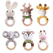 1pc Baby Teether Music Rattle Animal Crochet Rattle Elephant