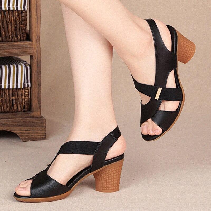 Fashion Women Sandals Platform Summer Round Mid Heel Peep Toe Casual Non-slip Back Strap Beach Ladies Shoes Zapatos De Mujer