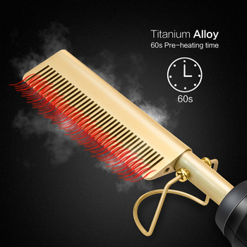 Hair Straightener Comb High Heat Ceramic Press with Dual Voltage and Auto Shut-off