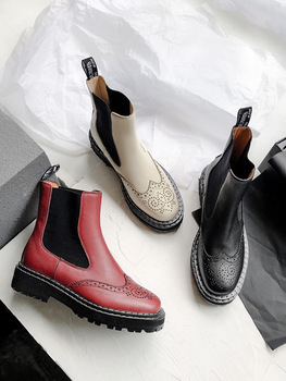 Season Keep Warm Cloth Boots Hollow Out Coarse With With Head Solid Color Genuine Leather Short Boots