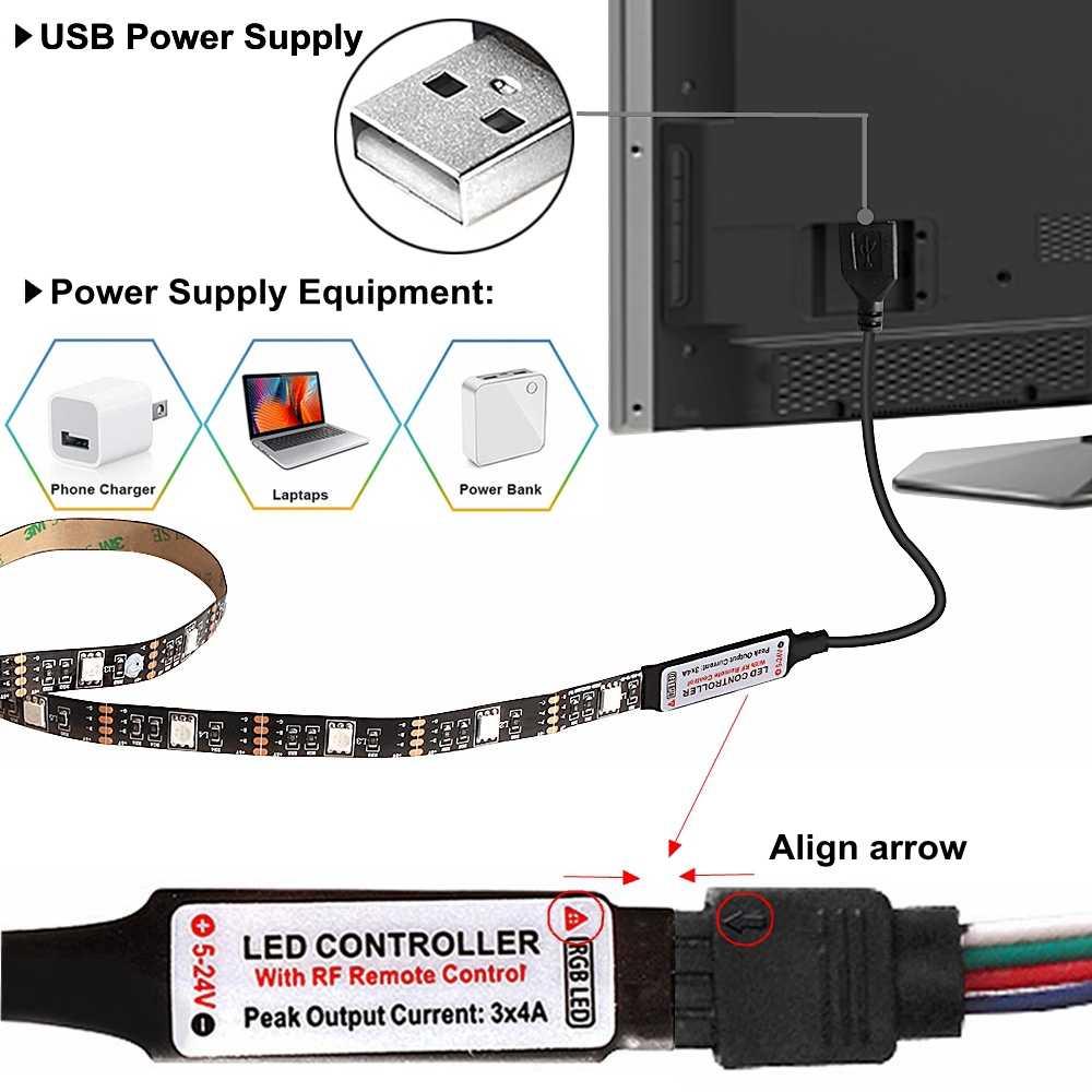 лента светодиодная SMD 5050 RGB Светодиодная лента USB ТВ фоновое освещение 0,5 м/1 м/2 м/3 м/4 м/5 м Диодная лента 5 в Светодиодная лента для украшения гостиной
