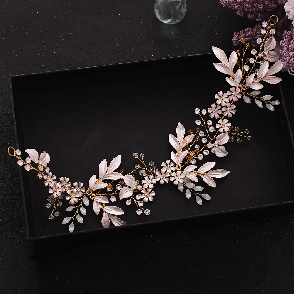 YouLaPan Princess Crown Bridal Headband Golden Leaves <font><b>Headpiece</b></font> <font><b>Wedding</b></font> <font><b>Hair</b></font> <font><b>Accessories</b></font> Bridal Tiara Luxury Bride Jewelry HP278 image