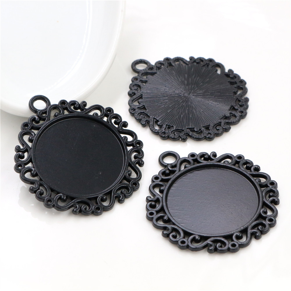New Fashion 3pcs 25mm Inner Size Black Classic Simple Style Cabochon Base Setting Charms Pendant (A6-34)