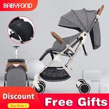 Детская коляска, переносная, может лежать, ультра-светильник, высокий пейзаж, легко складывается, с чехлом для ног