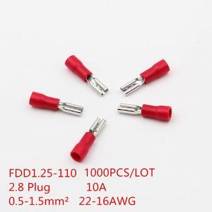 1000 uds/T046B FDD1.25-110 2,8 enchufe hembra de desconexión rápida Cable conector de Terminal de aislamiento de empalme 0,5-1.5mm2 22-16AWG