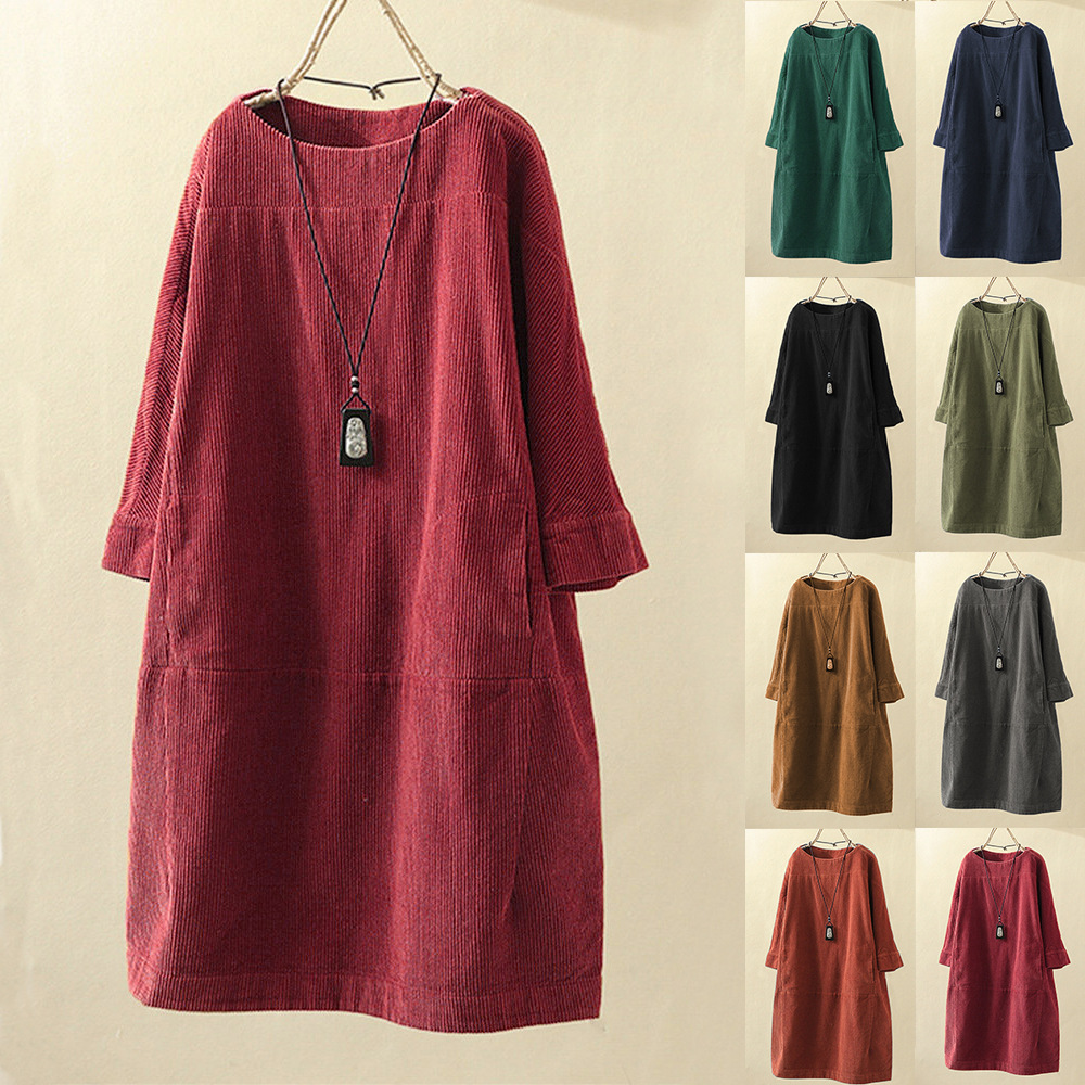 2020 Spring Autumn Fashion Korea Style Corduroy Solid Color Three Quater Sleeve Round Neck Dress Office Lady Loose Casual Dress