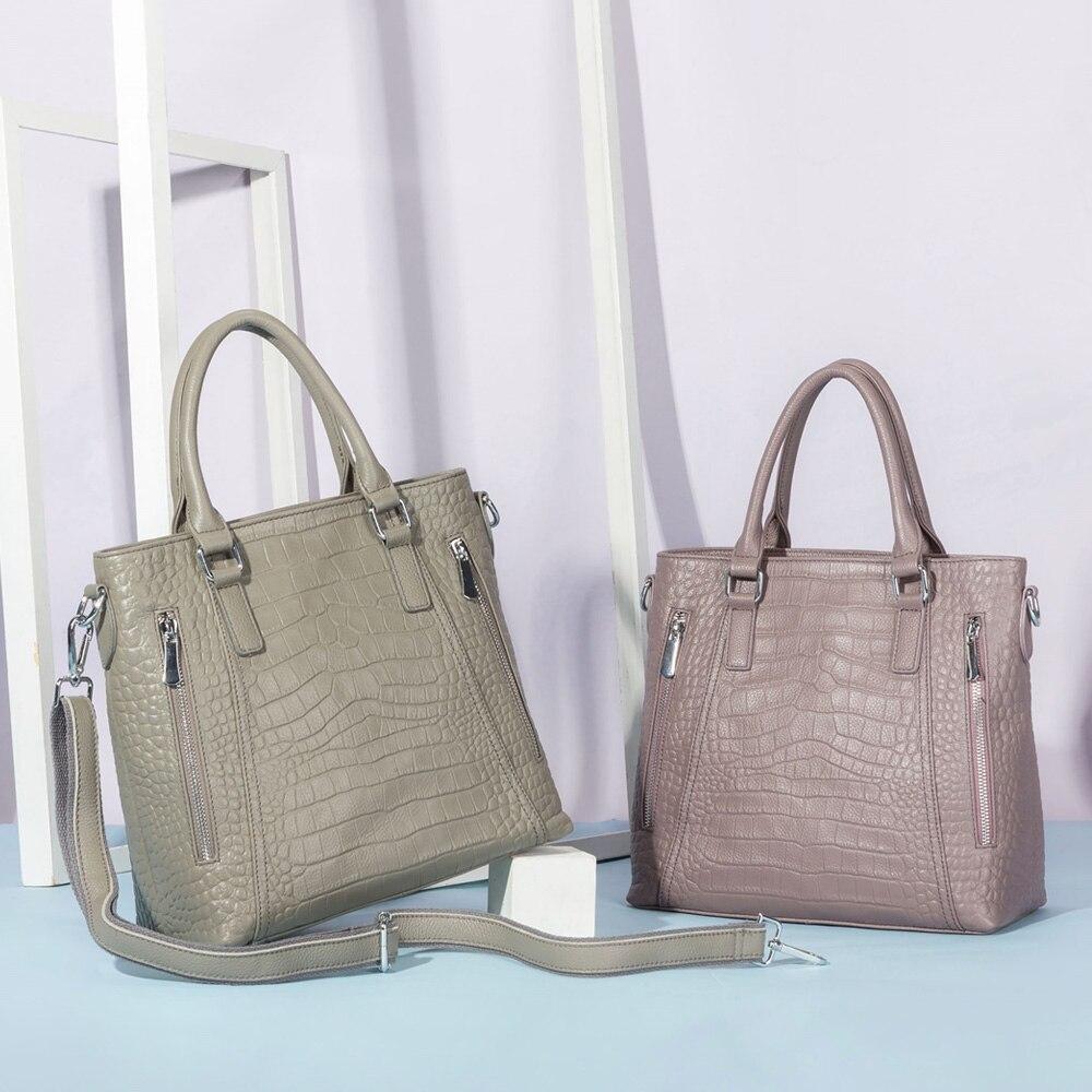 Casual Tote Handbag 100% Genuine Leather High Quality Lady Shoulder Bag Fashion Women Crossbody Bags Black Grey