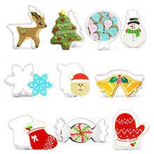 TTLIFE 10pcs Christmas Baking Accessories Stainless Steel Biscuit Mold Set Tree Elk Snowman Old Bell and Other