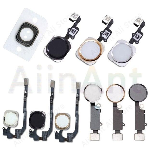 Ev düğmesi Flex iPhone 6 6s 7 8 artı 5s SE geri ile ev düğmesi flex kablo kauçuk etiket hiçbir dokunmatik kimlik parmak izi