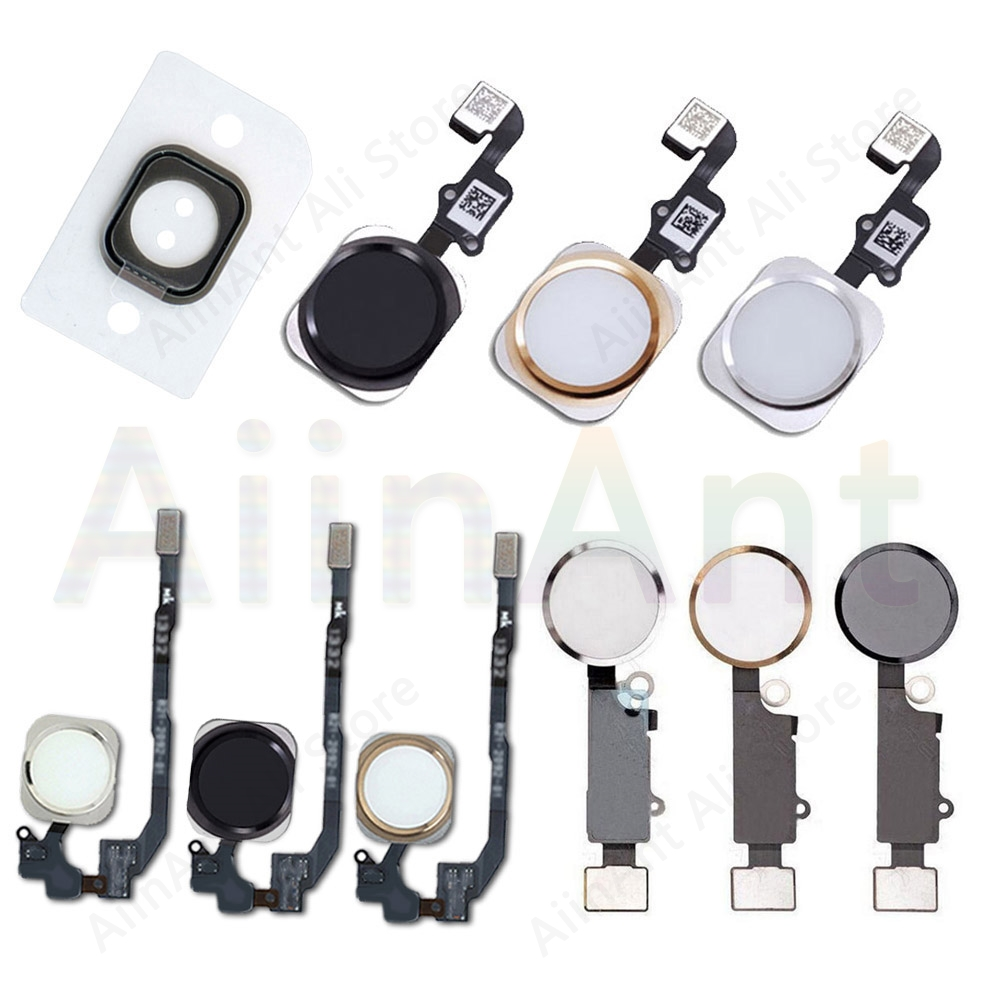 Home-Button Flex For iPhone 6 6s 7 8 Plus 5s SE Return Back Home Button With Flex Cable Rubber Sticker No Touch ID Fingerprint(China)