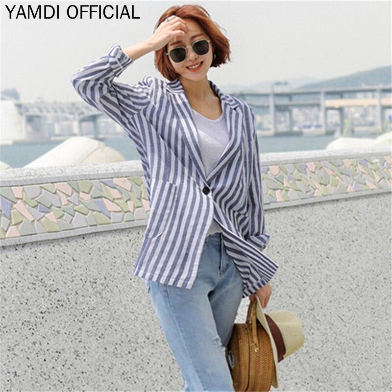 YAMDI Korean OL Runway Blazer Jacket For 2019 Women Autumn Winter Suit Blazer Female Woman Blue Stripe Blaer Outwear Ladies Coat
