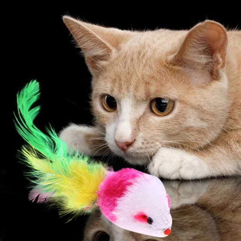 Leuke Kat Speelgoed Valse Muis Kat Speelgoed Mini Grappige Spelen Speelgoed Voor Katten met Kleurrijke Veer Pluche Mini Muis speelgoed Kitten