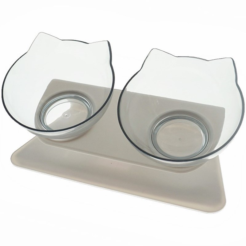 Transparent Double-Non-Slip Double Cat Bowl Dog Bowl With Stand Pet Feeding Cat