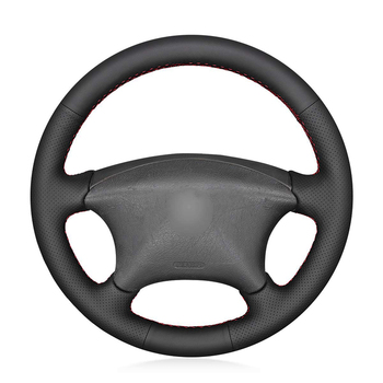 Hand-stitched Black Genuine Leather Car Steering Wheel Cover for Citroen Xsara Picasso 2003-2010 Peugeot Partner 2003-2008