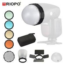 Triopo Magnetische Ronde Kop Flash Accessoire Kit Voor Godox V1 H200R Fotografie Vervangende Onderdelen Voor Triopo R1 F1-200