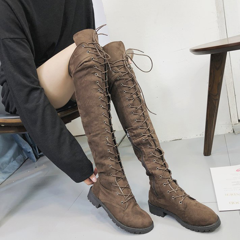 XZ055 Sexy Lace Up Over Knee Boots Women Rome Boot Women Comfort Square Heels Shoes Ladies Autumn Slim Long Boots Pls Size 34 43 in Over the Knee Boots from Shoes