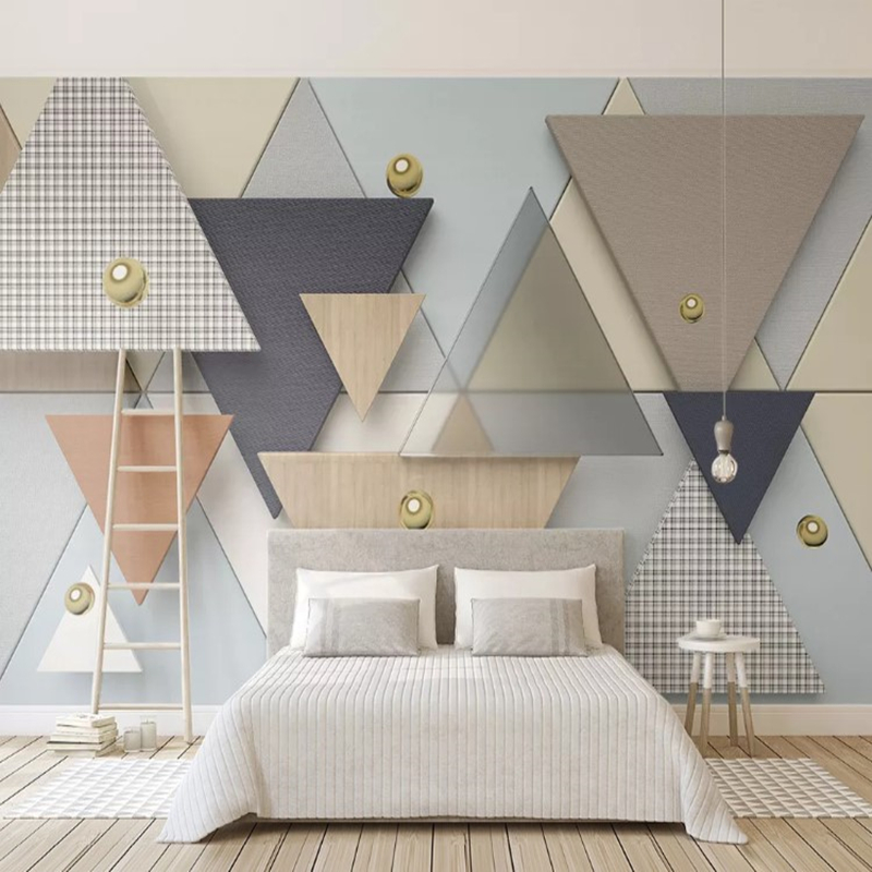 Custom Papel De Parede 3d, Geometric Grid Cloth Murals For Living Room Hotel Background Home Decoration Waterproof Wallpaper