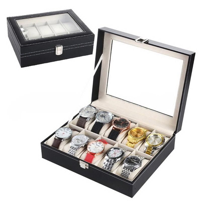 High Quality Watch Box Large 10 Grids Mens Black PU Leather Display Jewelry Case Organizer Gift Box Storage Case