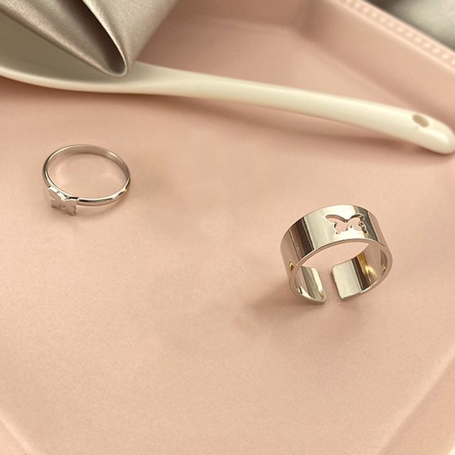 Punk Simple Style Lovers Butterfly Opening Ring Creative Women Gold Silver Color 2-Piece Ring Jewelry Gifts For Good Friends 3