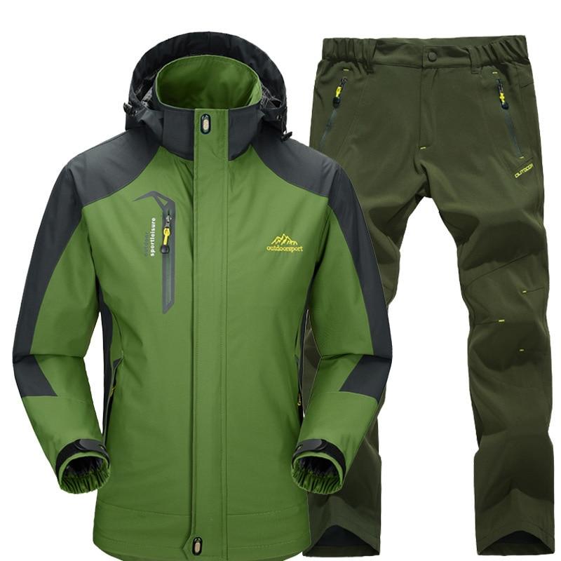 Autumn Men Women Outdoor Jacket Suit Windproof Waterproof Jacket Set Male Trekking Camping Hunting Climbing Jackets Sport Pants
