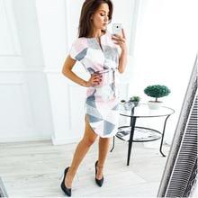 купить New Women Midi Party Dresses Geometric Print Summer Boho Beach Dress Loose Batwing Sleeve Dress Vestidos Plus Size Party Dress дешево
