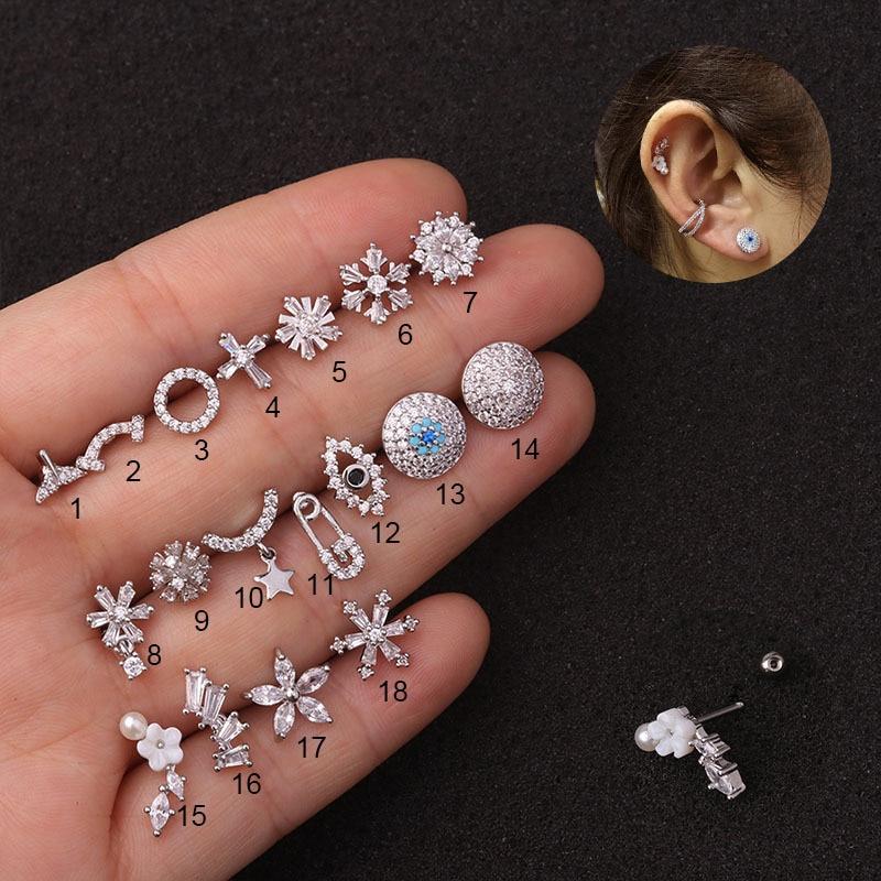 1Piece 0.8mm Safety Pin Piercing Stud Earrings for Women 2021 Trend Jewelry Stainless Steel Flowers Zircon Earrings for Teens