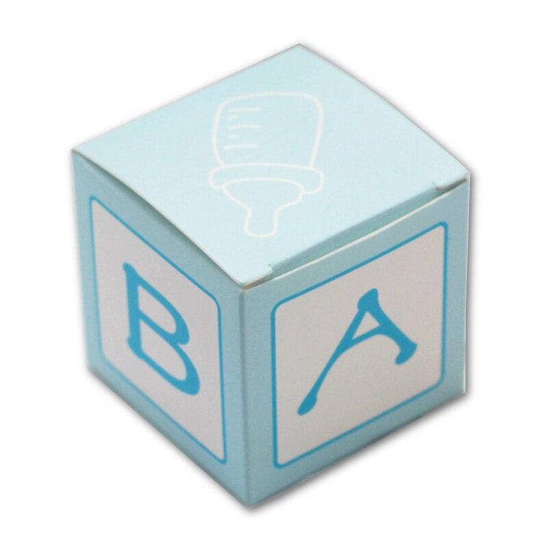 50 pièces bébé douche boîte à bonbons boîtes de fête lettre bébé imprimé bleu belles boîtes à bonbons petite boîte-cadeau fournitures de fête