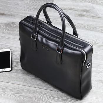 Men s leather briefcase purses double zipper handbag office bag business style single multi-layer shoulder Crossbod