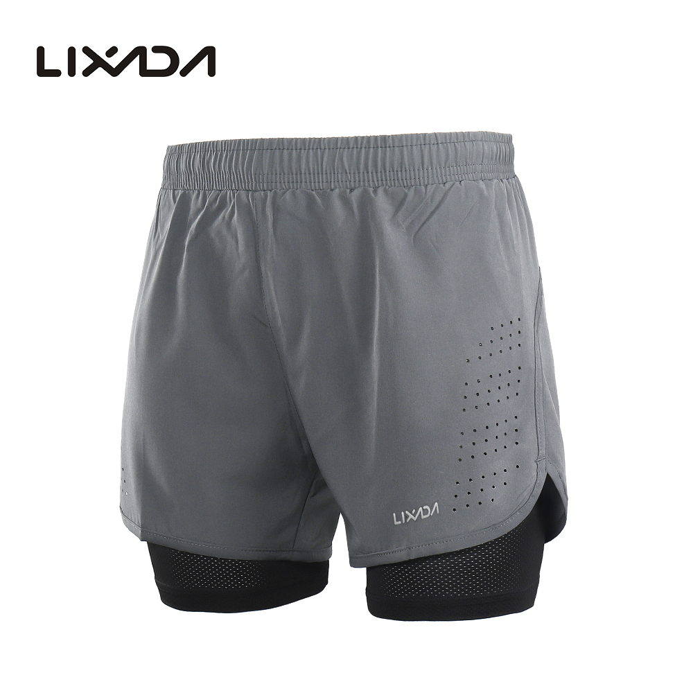 Lixada Men's 2-in-1 Running Sport Shorts Quick Drying Breathable Gym Training Exercise Jogging Cycling Shorts With Longer Liner 13