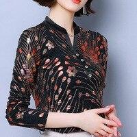 Embroidered V neck long sleeve t shirt slim female 2019 autumn shirt slim plus size women shirt top fashion elegant black tshirt
