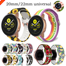 20mm 22mm pulseira universal para samsung galaxy assista 3 ativo 1 2 silicone impressão crisântemo pulseiras para huawei gt 2e pro