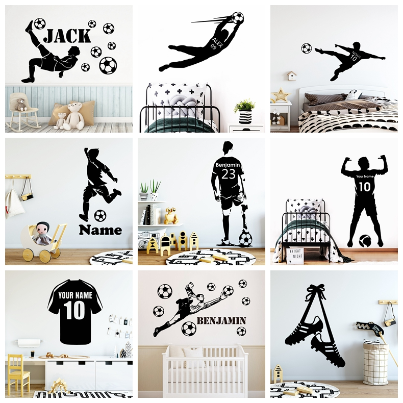 Large Football Soccer Custom Name Vinyl Wall Sticker FC Decals For Kids Boys Room Mural Bedroom Decor Wall Decal Stickers