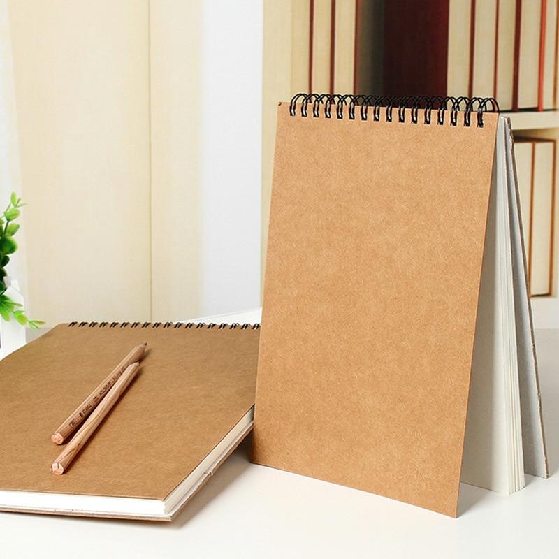 Brief Kraft Paper Sketch Book  A4 / A5 Professional Art Coil Sketch Book