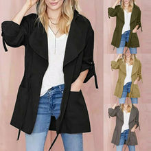 Pretty Womens Long Sleeve Pocket Drawstring Hooded Coat Jacket Windbreaker Top