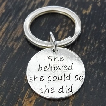 2020 Keychain Letter She believed she could so she did Key Classmate Gift Inspirational-words image