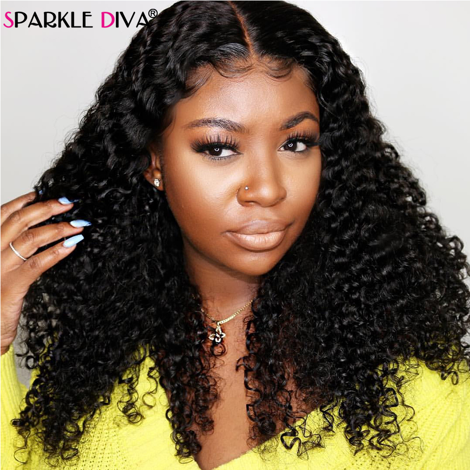 Malysian Kinky Curly Human Hair Wig 180 Density Remy Lace Front Human Hair Wigs For Black Women 360 Lace Frontal Wig Pre Plucked
