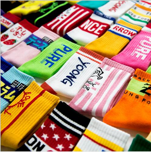 3-12 Year 4 Pairs Pack Autumn And Winter Sports Letters Cartoon Cotton Boys Girls Tube Socks