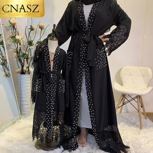 New Nida High Quality Pretty Lace Abaya Luxury White Pearls Diamond Open Abaya Dubai UAE Modest Black Abayas With Pockets