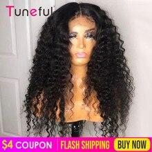 Głęboka koronkowa fala zamknięcie ludzkich włosów peruki 150% peruwiański głęboka fala 4x4 koronkowe zamknięcie peruki dla czarnych kobiet Remy kręcone ludzkie włosy peruka