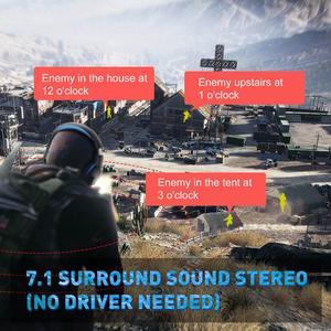 Image 5 - EKSA E1000 7.1 Virtual Surround Gaming Headset  RGB Light Gamer Headphones With Super Bass Mic For PC PS4