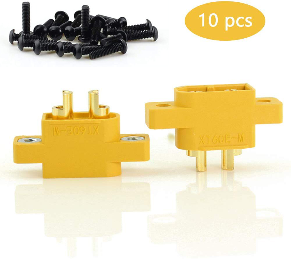 10pcs AMASS Connector Plug XT60E-M Mountable XT60 Male Plug Connector with Screw For RC Parts(China)