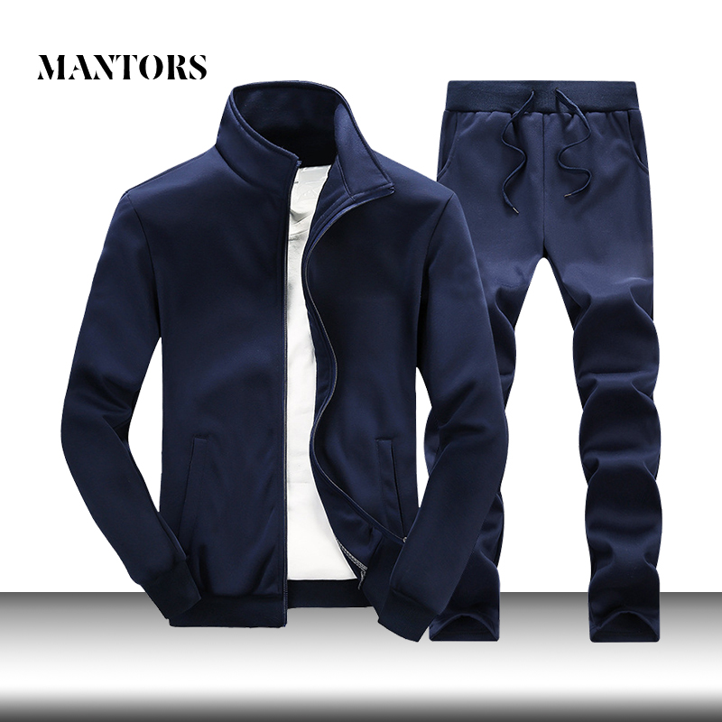 Casual Men Sets Solid Tracksuit Male Zipper Jackets+Sweatpants 2PC Sets Autumn New Brand Men's Sportswear Suit Customized Design