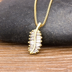 Hot Sale 4 Styles Charm Leaf Necklace Copper Inlaid Zircon Pendant Feather Chain Necklaces Lucky Jewelry For Female Wedding Gift