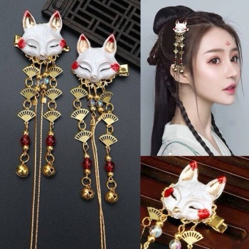 Japanese Anime Women Hair Headdress Fox Kawaii Tassel Step Shake Hairpin Cosplay Props Girl Clothing Accessories - discount item  20% OFF Costumes & Accessories