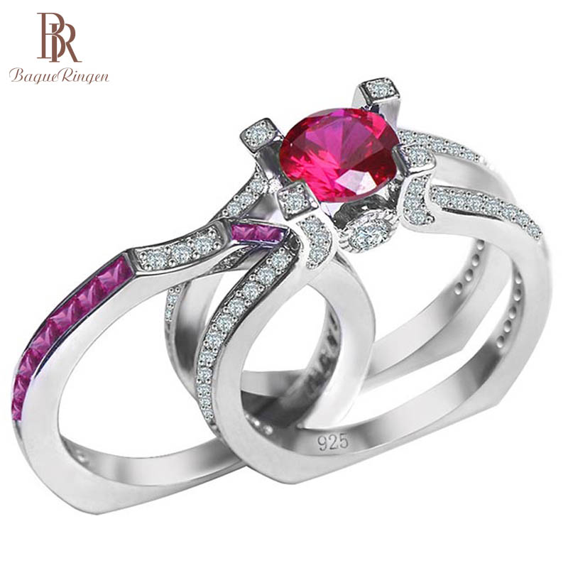 Bague Ringen 100% Sterling Silver Ring With Round Ruby Gemstone Size 5-10 Anniversary Gift Female Accessories Silver Jewerly