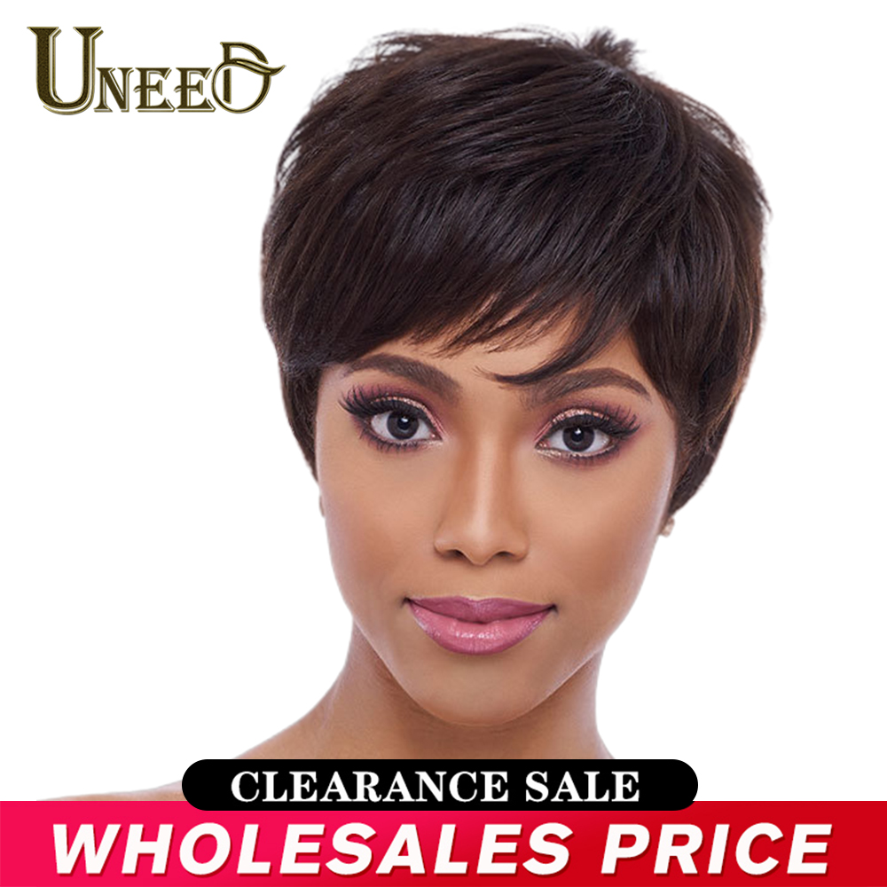 Short Bob Straight Natural Wave Wigs Non Remy Brazilian Straight Human Hair Wig For Women Machine Made 1B,63g  Pixie Cut Wig