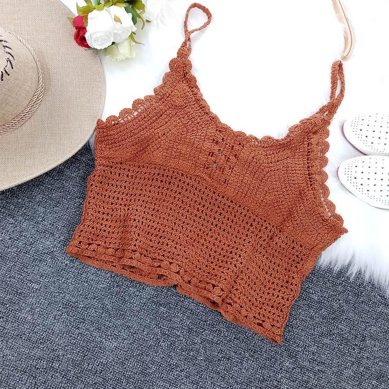 Woman Sling Vest Knitting Sleeveless V-Neck Hollow Out Slim Vests 2020 Summer New Female Elastic Waist Elegant Fashion Tank Top