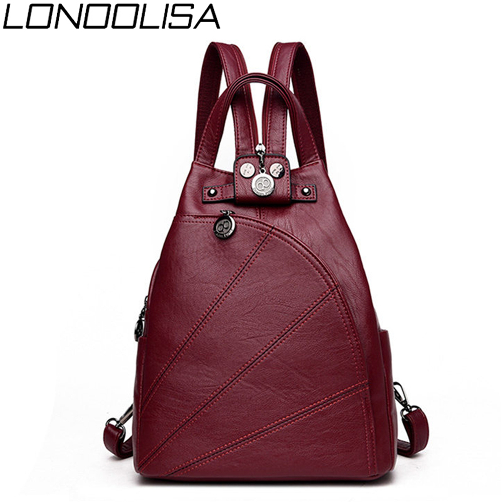 3-in-1 Women's Bag High Quality Soft Leather Backpack For Ladies   Fashion Embroidery Thread Femme Chest Bag Sac A Dos