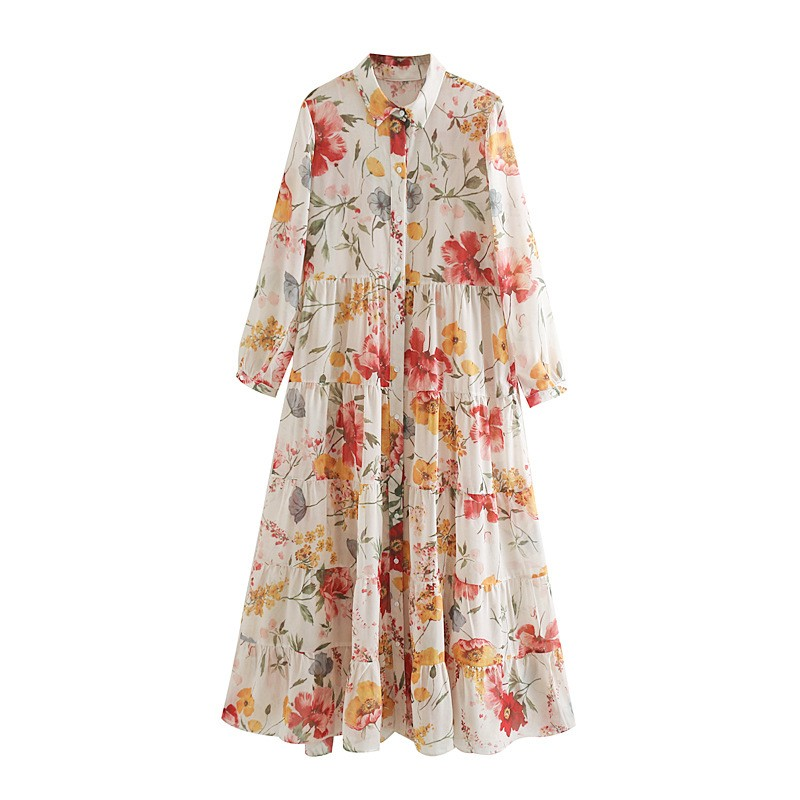 BEFORW 2020 Fashion Women Vintage Floral Print Casual Loose Long Dress Female Elegant  High Waist Shirt Chiffon Dress Vestidos